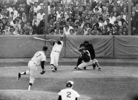 Yastrzemski belted this Jim Merritt pitch over the fence for his 44th home run in the second-to-last game. Killebrew would also homer in the game, and the two would end the season tied for the home run title.