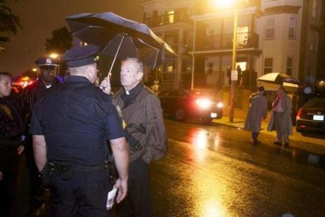 Conway meets with police  after a friend of Tal's is shot on Olney Street on Sept. 28 in Dorchester. The friend survived.