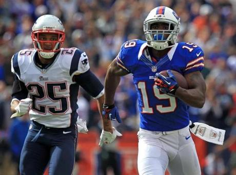 Bills receiver Donald Jones  left Patriots free safety Patrick Chung  in his wake on this 68-yard touchdown.