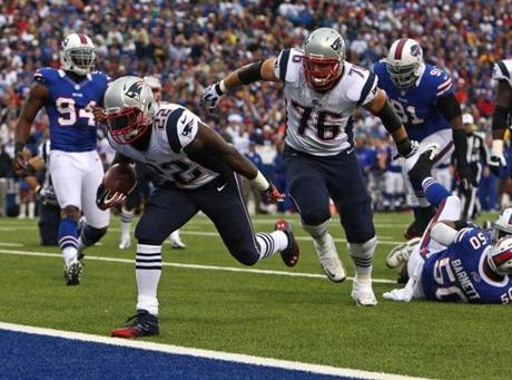 Patriots running back Stevan Ridley ran into the end zone to score the Patriots only touchdown in the first half.