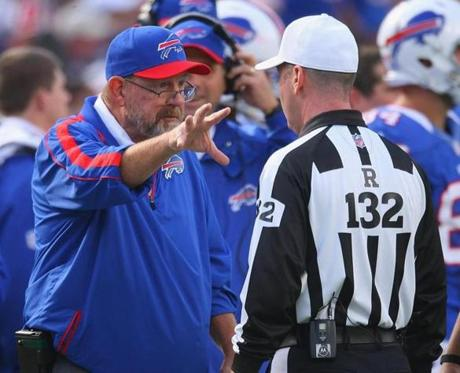 Bills coach Chan Gailey talked with referee John Parry  in the fourth quarter.