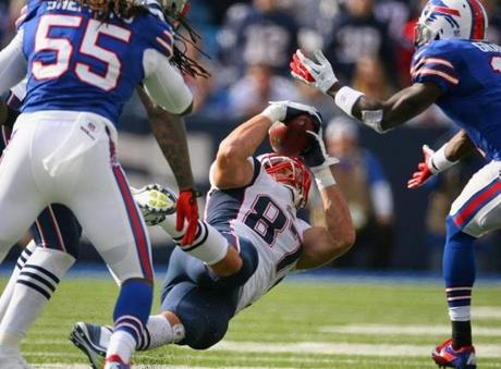 Patriots tight end Rob Gronkowski caught this ball on an onside kick attempt by the Bills.