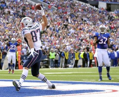 Rob Gronkowski celebrated a touchdown in the fourth quarter.