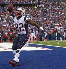 Stevan Ridley celebrated his first half touchdown.