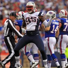 Patriots defensive end Chandler Jones celebrated his sack of Bills quarterback Ryan Fitzpatrick during the first quarter.
