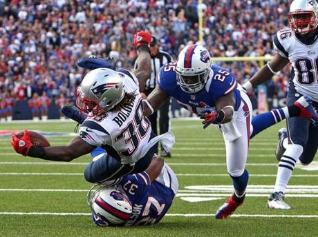 Patriots running back Brandon Bolden is brought down just short of the end zone in the fourth quarter.