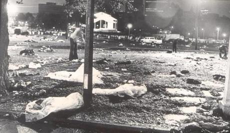 October 2, 1979:  The Boston Common is a quagmire after the Papal Mass is over and the crowd has left. The mud coated people's shoes and socks and blankets, many of which were left behind for workers to dispose of.