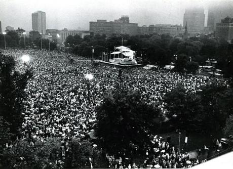 October 1, 1979:  An estimated crowd of 400,000 people listen to Pope John Paul II say Mass on the Boston Common. The Mass, the first celebrated by a Pope in Boston, lasted an hour and a half. It started 20 minutes late just as the downpour began which lasted throughout the service. The soaked crowd all stayed to hear the Pope's message through as he told them: