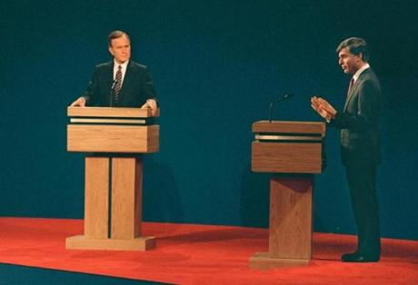Michael Dukakis and Vice President George Bush debated on Oct. 13, 1988, in Los Angeles.