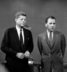 John Kennedy and Richard Nixon are seen on Sept. 26,1960, following their debate at a Chicago television studio