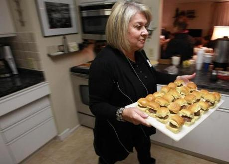 Mini burgers served by guest Marilyn Riseberg.