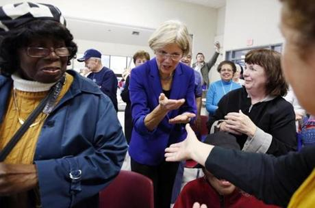 Democratic US Senate candidate Elizabeth Warren stopped at a senior center in Medford.