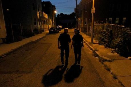 Conway  walked the neighborhood on a Friday night in August with Boston Police Deputy Superintendent Nora Baston.