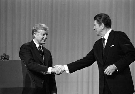 President Jimmy Carter and Ronald Reagan debated on Oct. 28, 1980, in Cleveland.