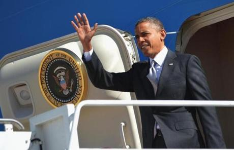 President Obama arrived at Buckley Air Force Base outside Denver.