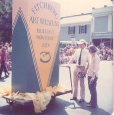 21timms /// Peter Timms - Director Credit: Fitchburg Art Museum /// 0001 Ð Me (Peter Timms) with a giant crayon box, 4th of July Parade, Fitchburg early 1980's ///