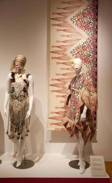 "Bakalar Gallery at MassArt, where the fashion exhibition ""Zandra Rhodes: A Lifelong Love Affair with Textiles"" is on view through December 1."