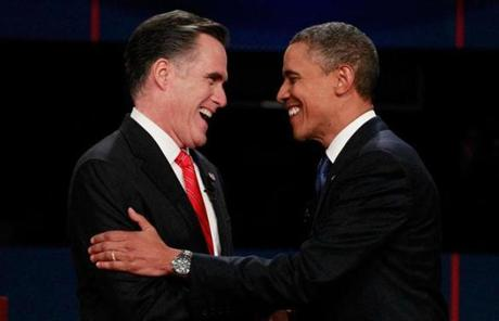 President Obama and Romney met at the start of the debate.