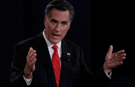Romney gestured as he made a point.