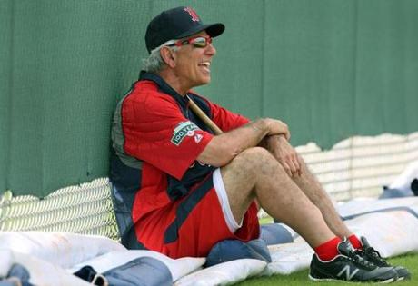 The laughs continued as Valentine watched pitchers throw on the day they reported to camp.