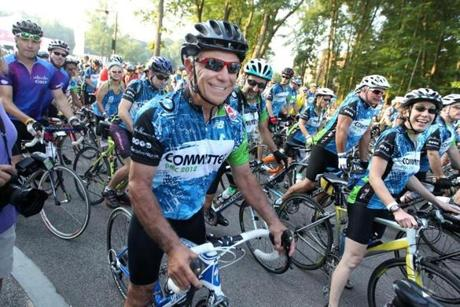 Valentine allowed the Globe to profile him in pictures on Aug. 4, when he spent part of the day bicycling from Wellesley to Wrentham in the Pan-Mass Challenge.