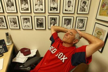 Then he caught a few moments of rest in his Fenway Park before the game on Aug. 4.