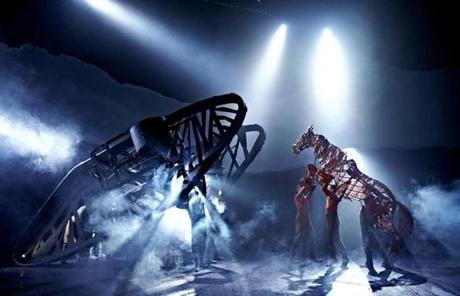 "Adapted from a popular novel, ""War Horse"" features life-size horse puppets manipulated by costumed actors."