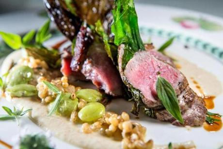 At Bondir in Cambridge, Vermont lamb with Maine turnips, lima beans, mustard greens, wheat berries.