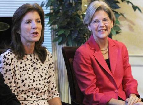 Caroline Kennedy (left) joined Elizabeth Warren at Zelma Lacey House in Charlestown to give her support to a Democrat she said would carry on her uncle's legacy.