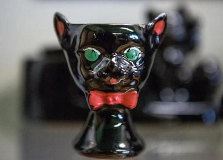 A black cat egg holder was on display at the Hudson Historical Society Museum in Hudson.