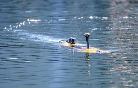 An unmanned underwater vehicle was shown recently during a demonstration at Bluefin Robotics in Quincy.