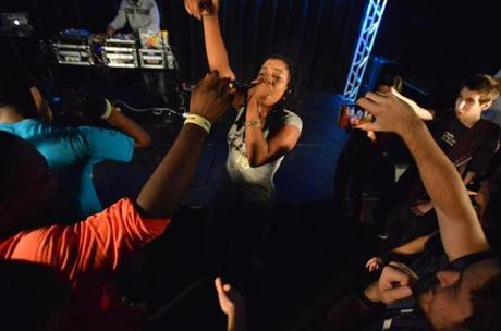 Rapper Dutch ReBelle performing recently at Boston University.