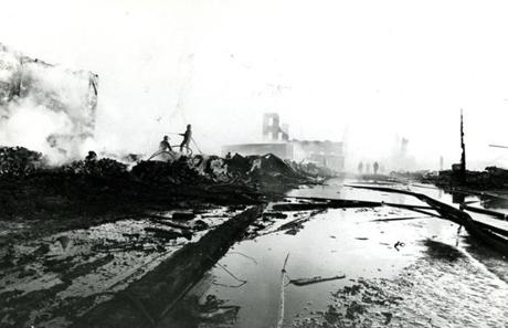October 15 1973 /  The day after picture of the Great Chelsea Fire of 1973 shows the total devastation caused by the fire. The fire area was almost entirely within the perimeters of two urban renewal projects - a planned $14.6 million industrial park and a proposed $2.3 million residential project.