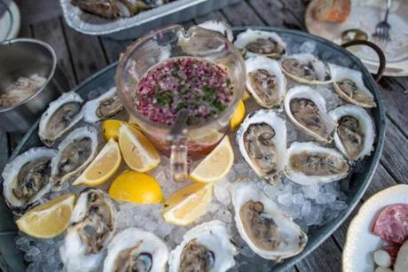 The oysters were served with Prosecco mignonette.