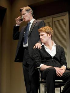 "Tom Nelis and Grant MacDermott rehearsing as father and son in ""Now or Later."""