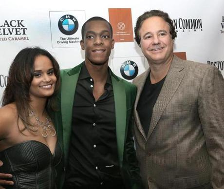10-10-2012 Boston, Mass. Over 500 guests attended the Boston Common Magazine, Cover party host Boston Celtics Rajon Rondo at the Liberty Hotel. L. to R. are Ashley Bachelor of Boston , Boston Celtics Rajon Rondo and Boston Celtics Co-Owner Stephen Pagliuca. Globe photo by Bill Brett