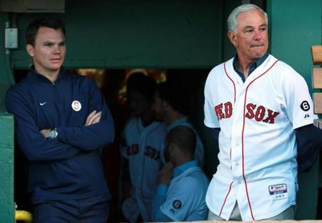 Ben Cherington and Bobby Valentine at a tribute to Johnny Pesky at Fenway in September. Cherington said the team will begin interviewing potential manager prospects Friday after Valentine's dismissal from the job last week.