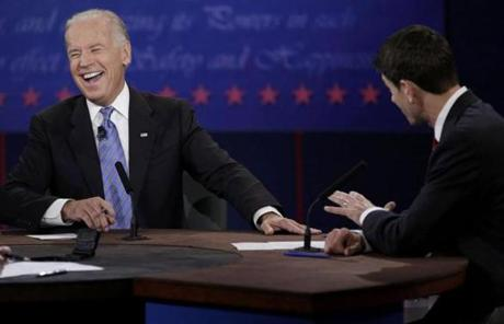 Biden reacted as Ryan spoke during the debate.