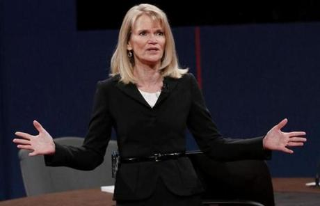 Moderator Martha Raddatz of ABC News addressed the crowd before the start of the debate.