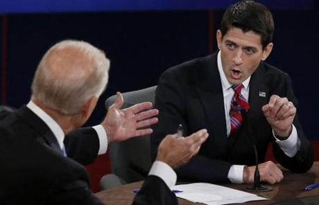 Ryan gestured while making a point during the debate.