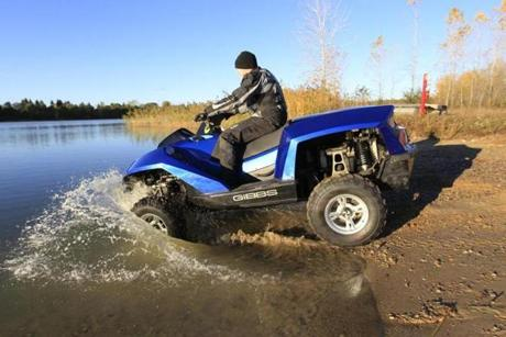The amphibious Quadski, which went from land to water during a test drive, will be priced at $40,000.