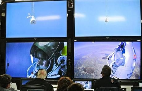 Mission control monitored Baumgartner's ascent to 128,000 feet.