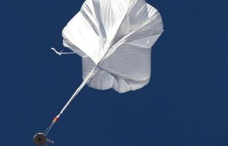 Felix Baumgartner's capsule rose under a helium balloon.