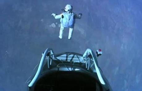 ''Sometimes we have to get really high to see how small we are,'' Baumgartner said after his jump.