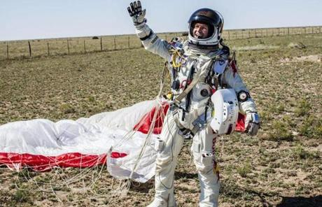 The 43-year-old former military parachutist has promised this would be his final jump.