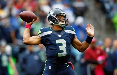 Seahawks quarterback Russell Wilson took aim in the first half.