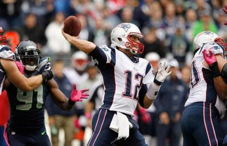Tom Brady threw downfield in the first half.