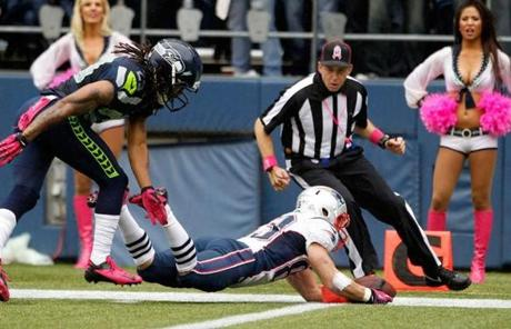 Wes Welker hit the pylon for a touchdown.