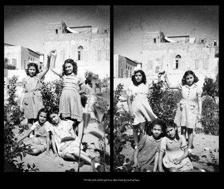 Classmates in a Christian Orthodox girls school in Jaffa in 1945.