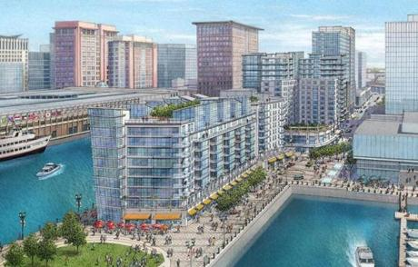A rendering shows a redeveloped Pier 4 with three new buildings and a public park where Anthony's Pier 4 restaurant now stands.